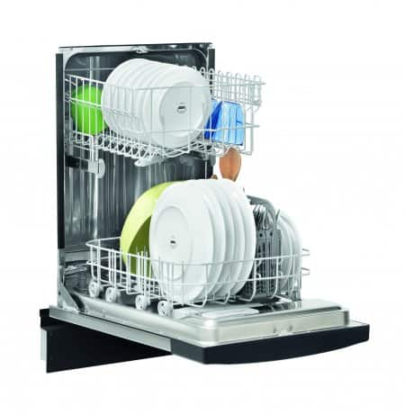"Frigidaire FFBD1821MS 18"" built-in dishwasher open with full racks."
