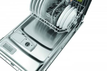 "Frigidaire FFBD1821MS 18"" built-in dishwasher with door open, tight shot from front angle."