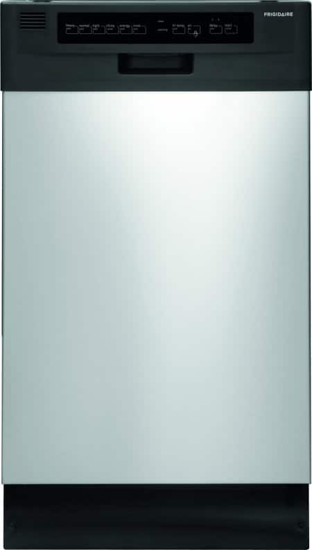 "Front shot of Frigidaire FFBD1821MS 18"" built-in dishwasher in stainless steel, door closed."