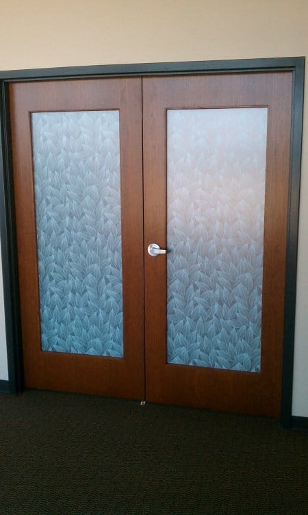 Ordinaire French Doors With Frost Leaf Covered Glass. The Decorative Window Film ...