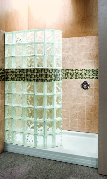 Stand Alone Shower With Glass Block