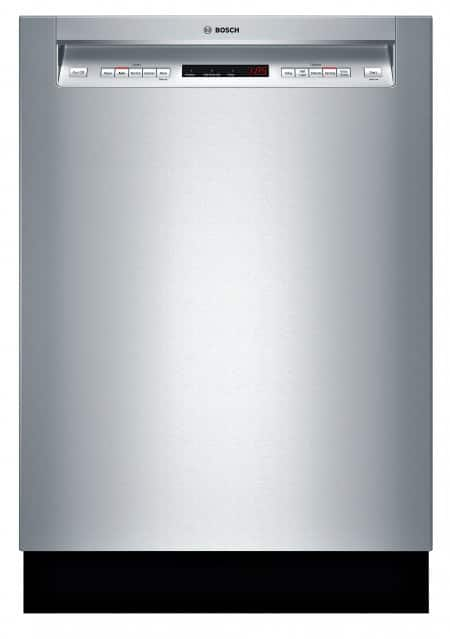 Bosch SHE65T55UC 500 Series dishwasher, full front shot, door closed.
