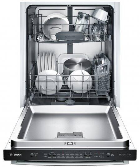 Bosch Ascenta SHX3AR75UC dishwasher, door fully open, racks loaded.