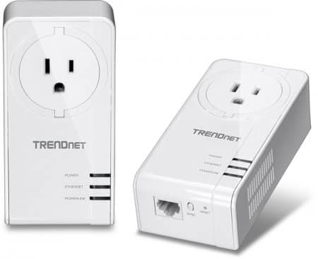 TRENDnet Powerline 1200 AV2 Adapter Kit with Built-in Outlet, model TPL-421E2K.