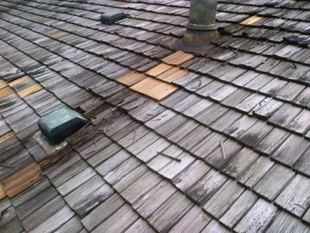 wood shingles on roof