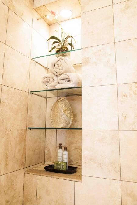 Tiled Shelves In Shower Stall