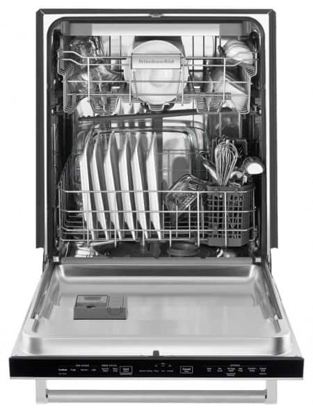KitchenAid KDTE254ESS stainless steel dishwasher inside