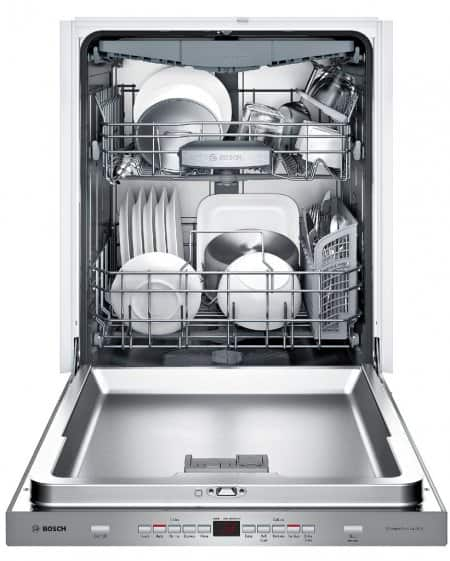 Inside of a Bosch SHP65T55UC stainless steel dishwasher