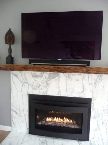 basement remodel fireplace