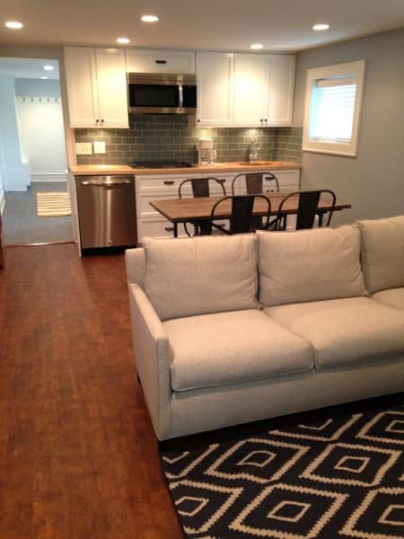 A renovated basement creates a new living space. (Photo courtesy of Angie's List member Christopher Hill, Chicago)
