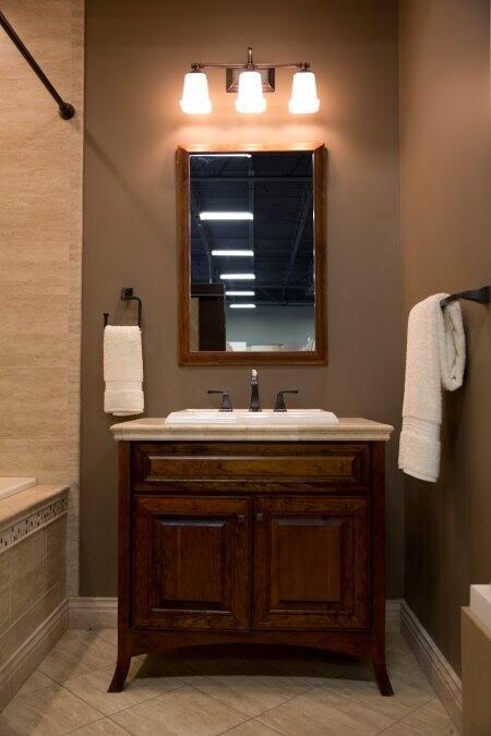Brown Wood Cabinet Style Bathroom Vanity