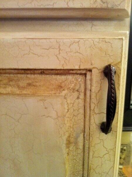 crackle painted bathroom cabinet door