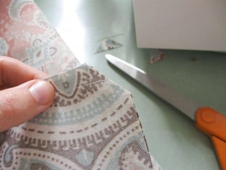 Cutting corner of DIY stitched pillow
