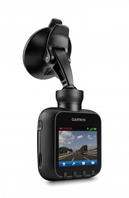 Product shot of a Garmin Dash Cam 20, unmounted.
