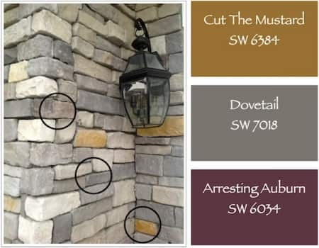 paint color swatches to match brick to door