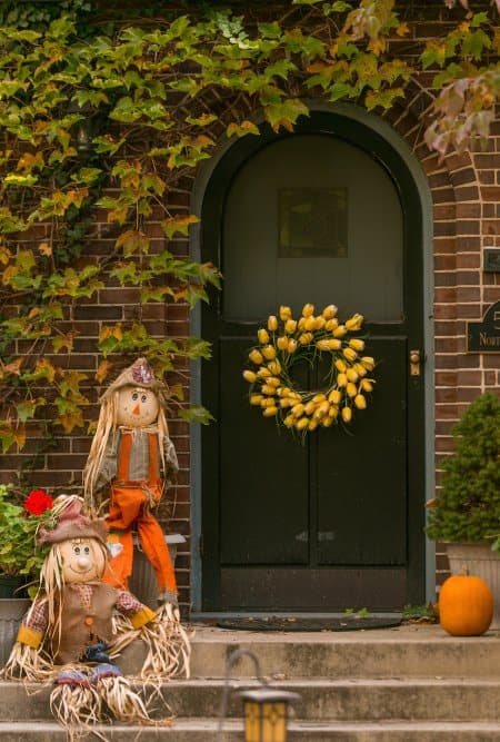 fall decorations on porch