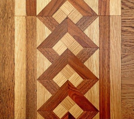 Detail of a portion of the living room hardwood floor