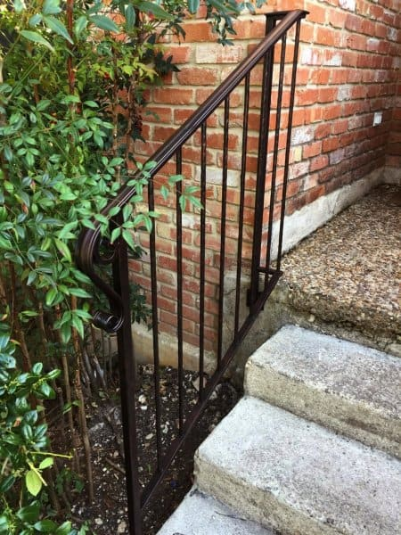 Wrought Iron Style Exterior Handrail// Garden Railing With One Concrete In Post