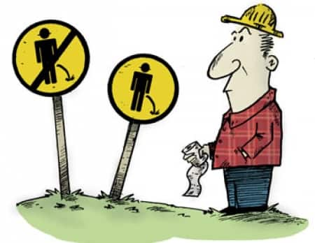 What is the etiquette when an outdoor contractor feels nature's call? (Illustration by Jake Ziolkowski)