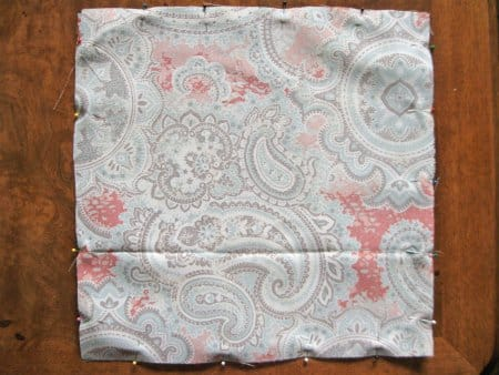 pinned pillow fabric squares