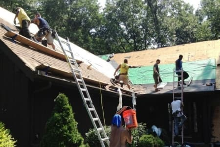 roofers installing new roof