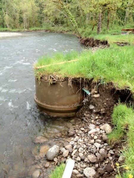 exposed septic tank in creek