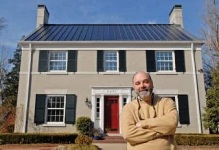 solar laminate metal roofing on historic Louisville home