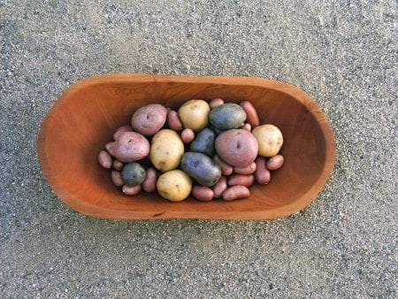 Wooden container with various sizes and colors of potatoes.