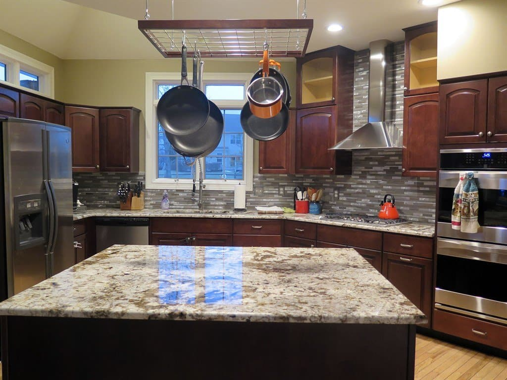 kitchen remodel with hanging pot rack