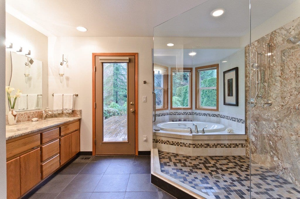 Inspirational bathroom shower designs angie 39 s list for Walk in tub bathroom designs