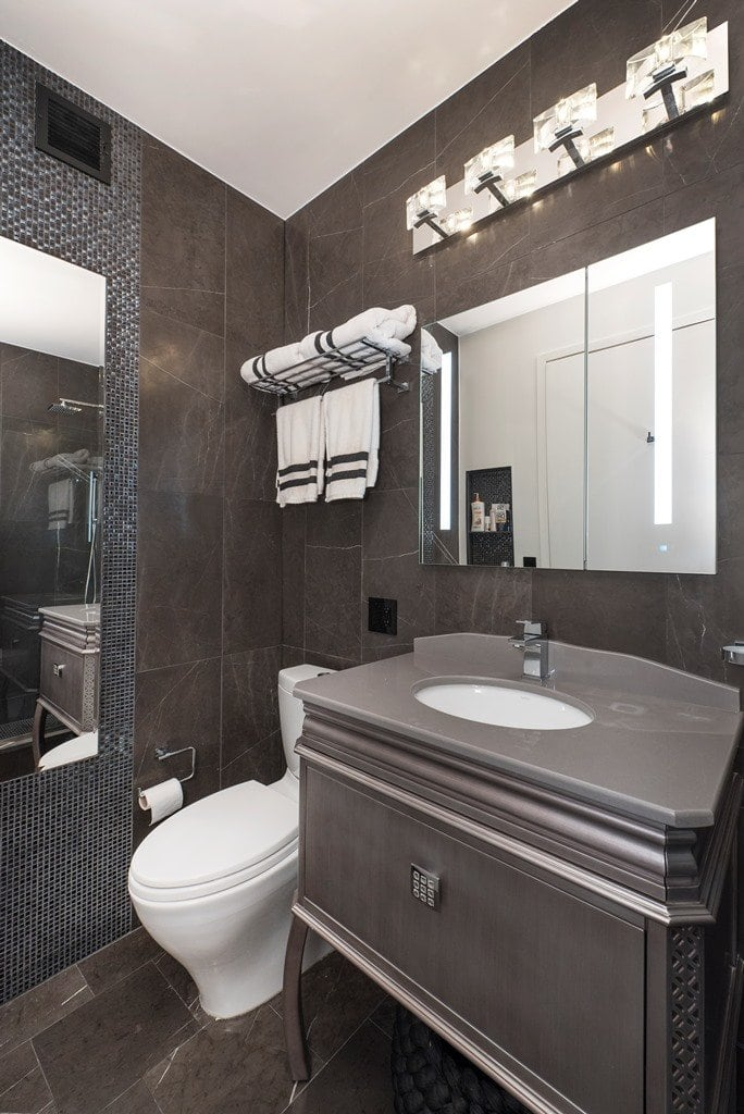 Contemporary Bathroom With Grey Floor Cabinet Under Mount Sink White Toilet