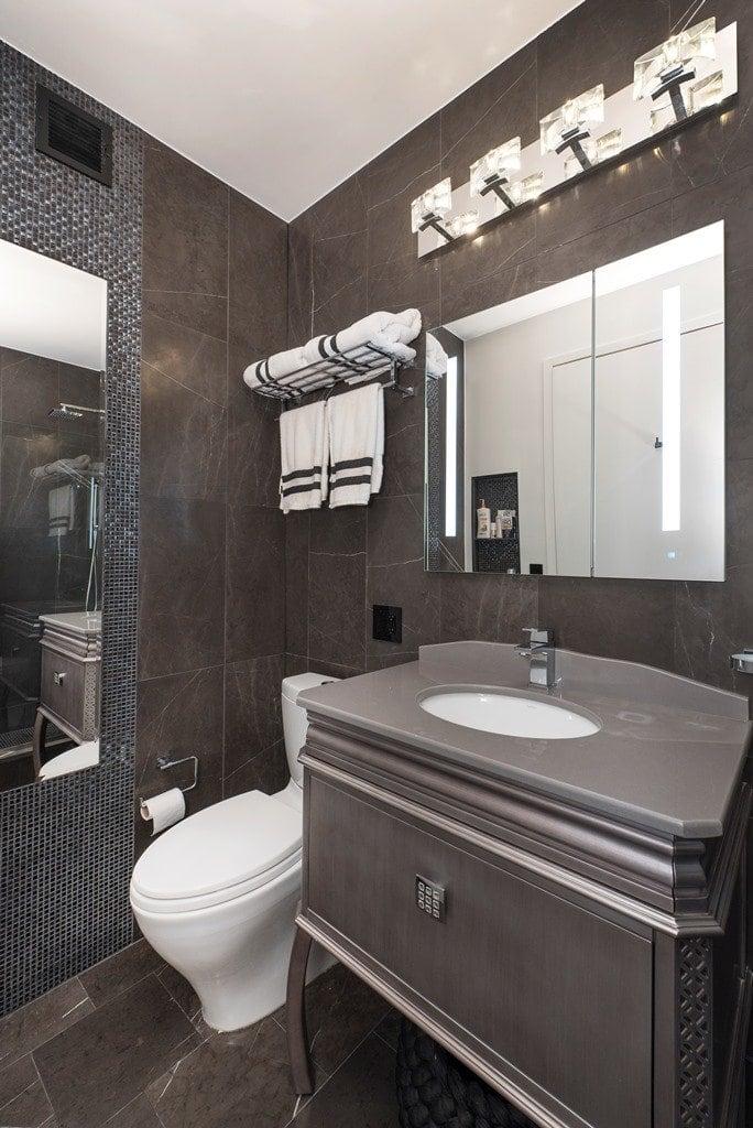 Contemporary Bathroom With Grey Floor Cabinet, Under Mount Sink, White  Toilet, Grey