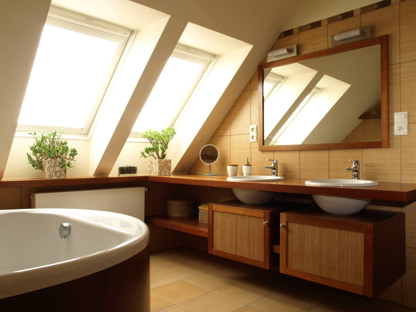 Interior Of Modern Bathroom With Huge Mirror