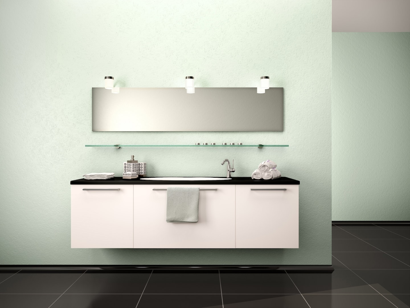 3d Illustration Of Washbasin In A Modern Interior Bathroom Style Of  Minimalism