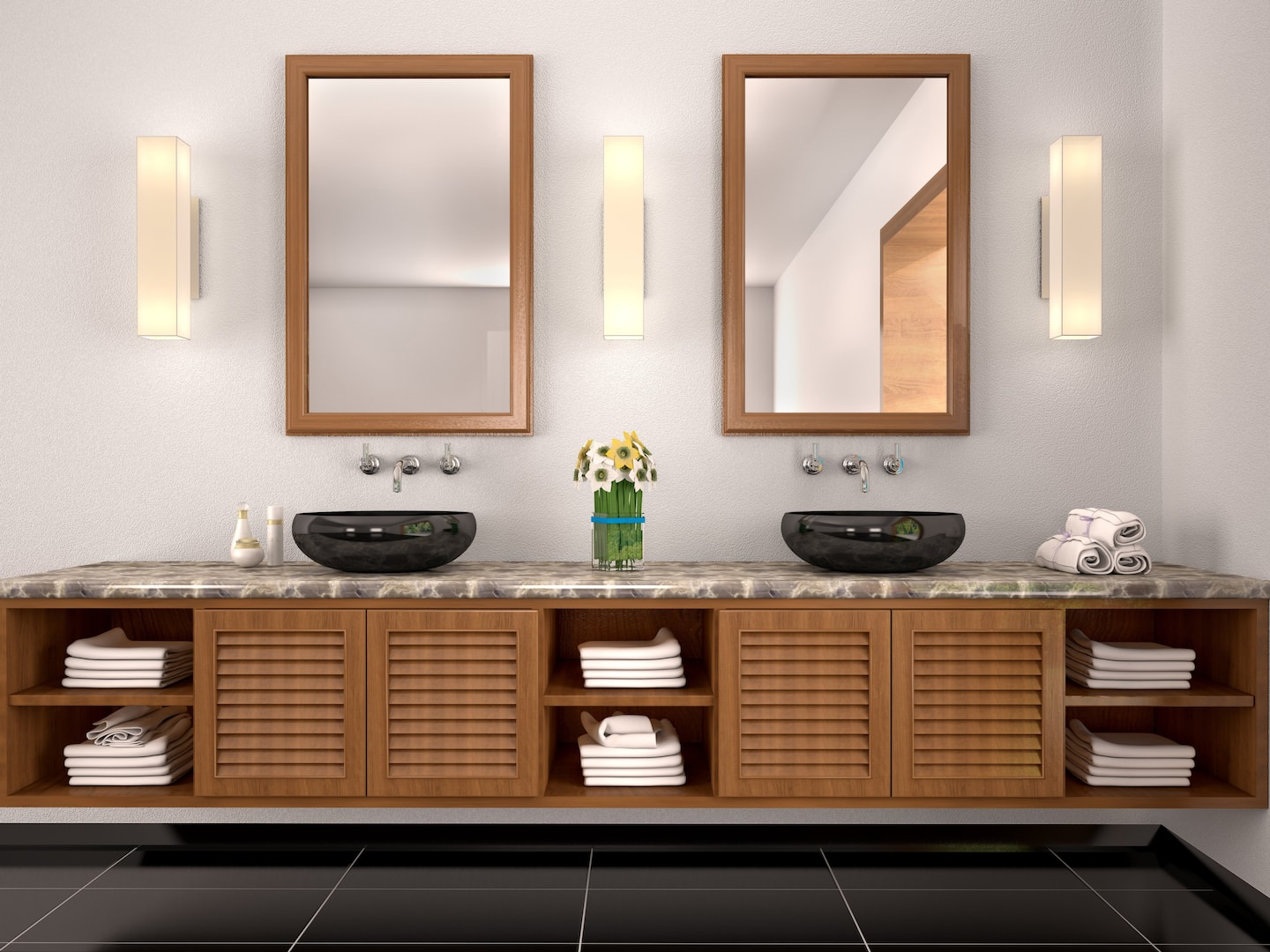 3d Illustration Of Double Sink In The Bathroom Mediterranean Style
