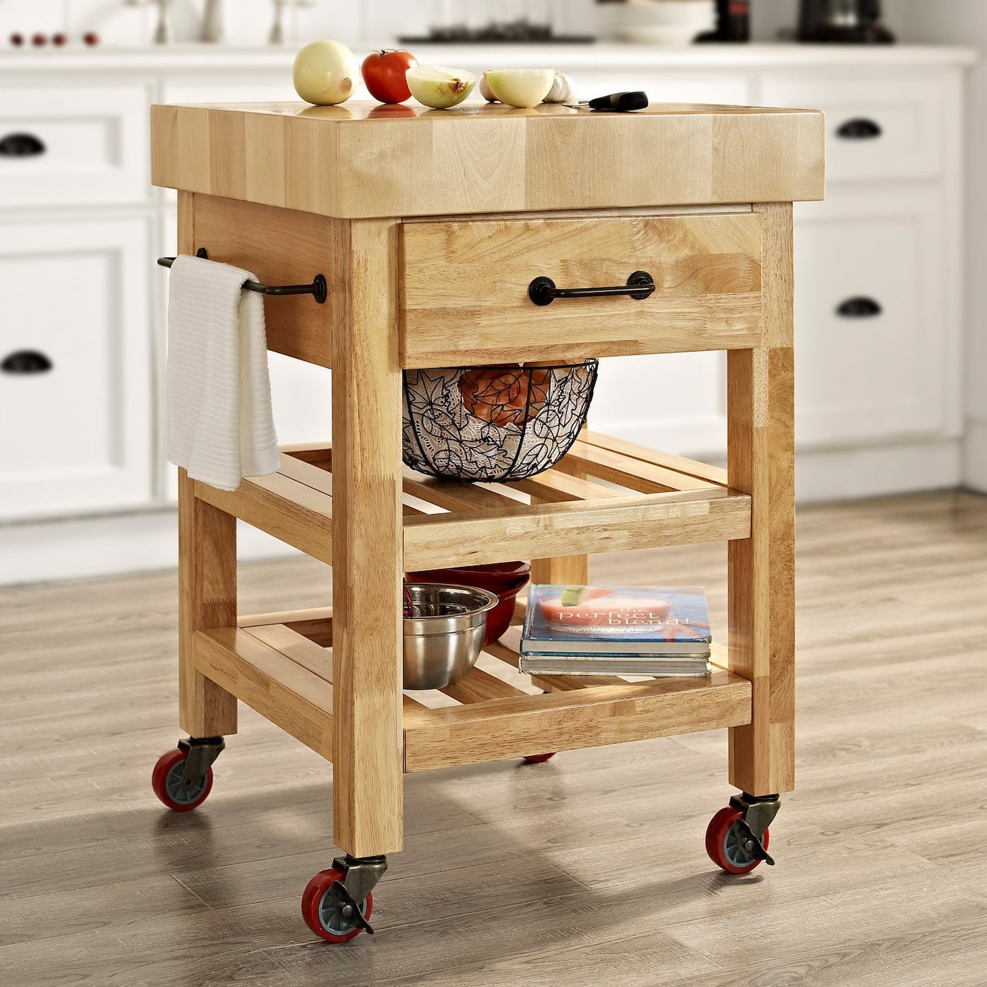 Petite butcher block rolling kitchen cart