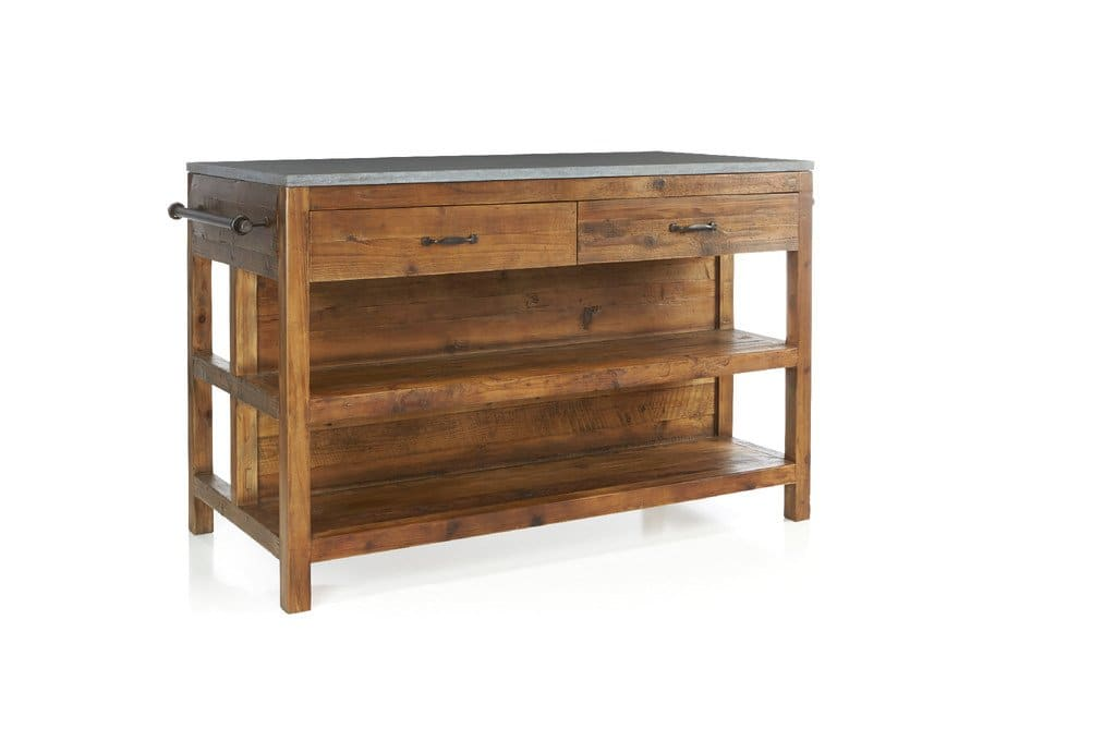 freestanding kitchen island made of reclaimed pine