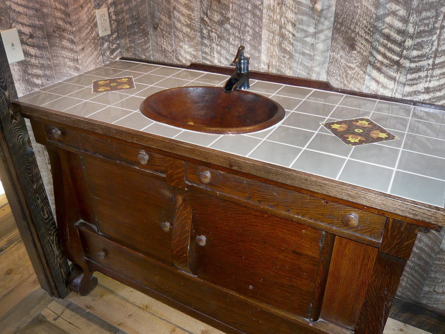 Antique Sideboard Converted Into Bathroom Vanity With Hammered Drop In  Copper Sink