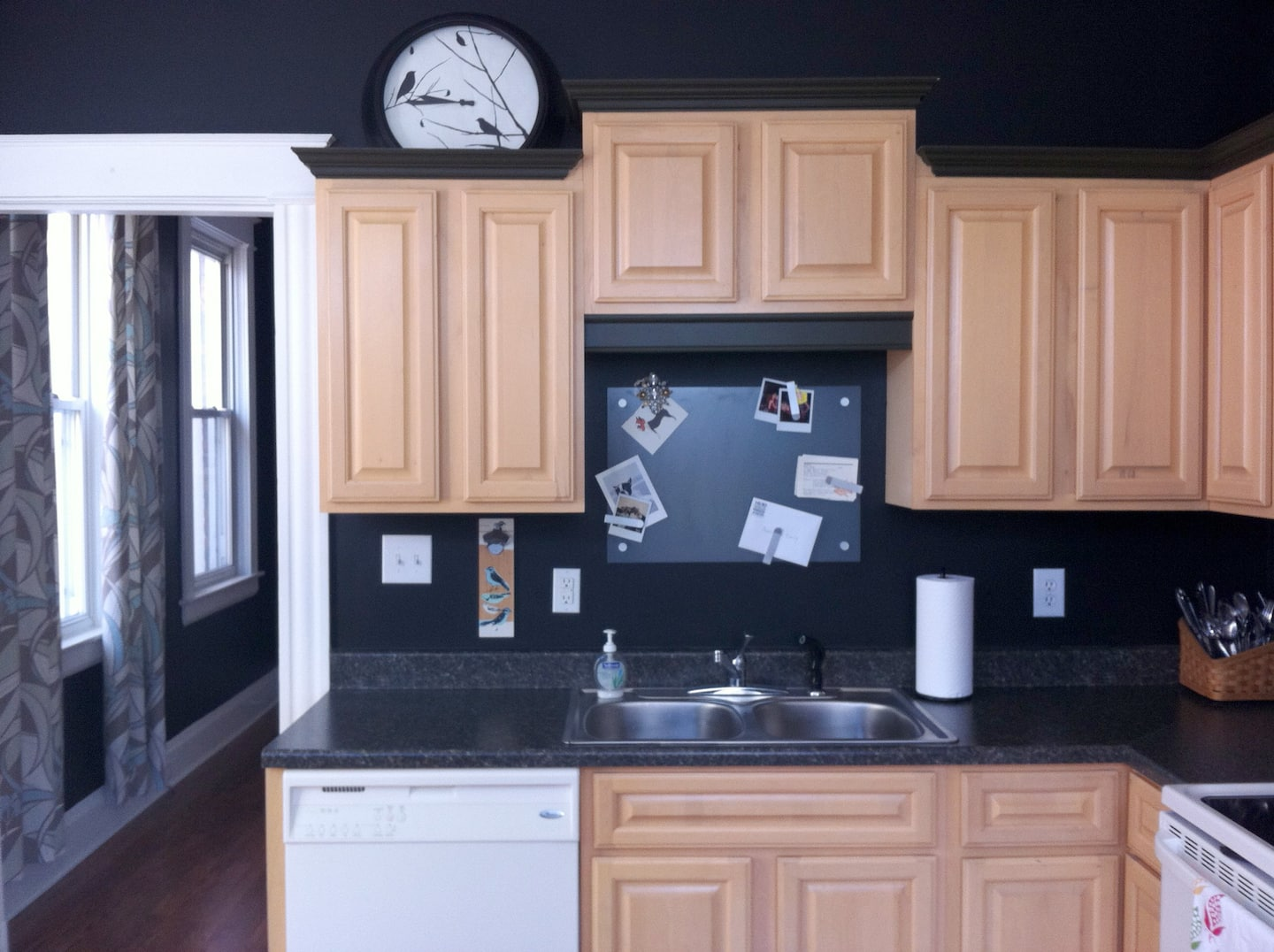 Before Photo Of Wood Cabinets Prior To Repainting White