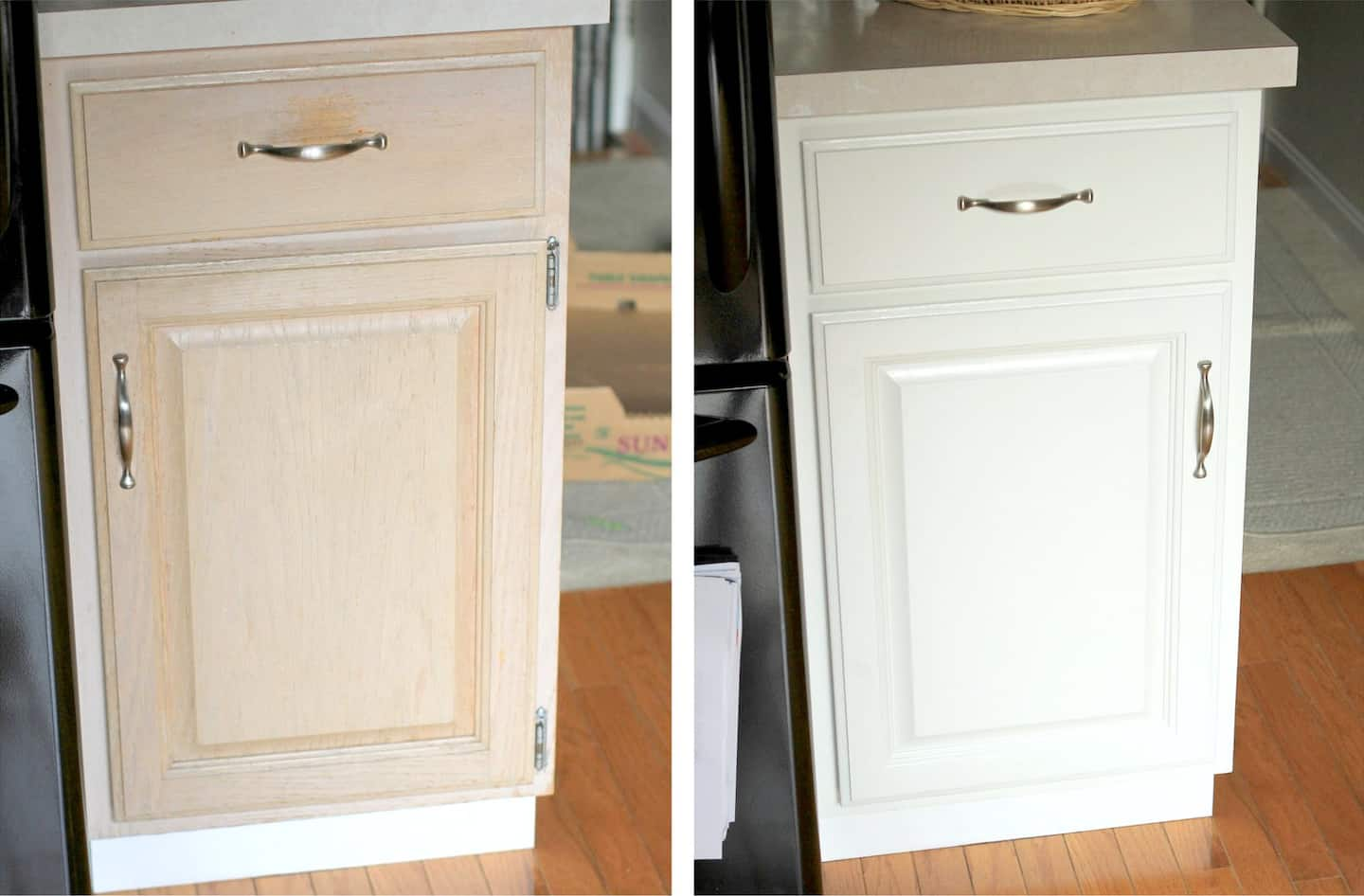 before and after wood cabinet painted white