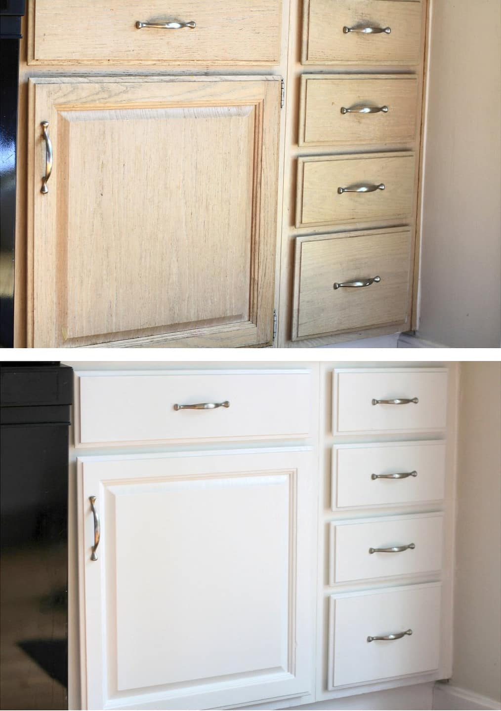 wood kitchen cabinet before and painted white wood kitchen cabinet after