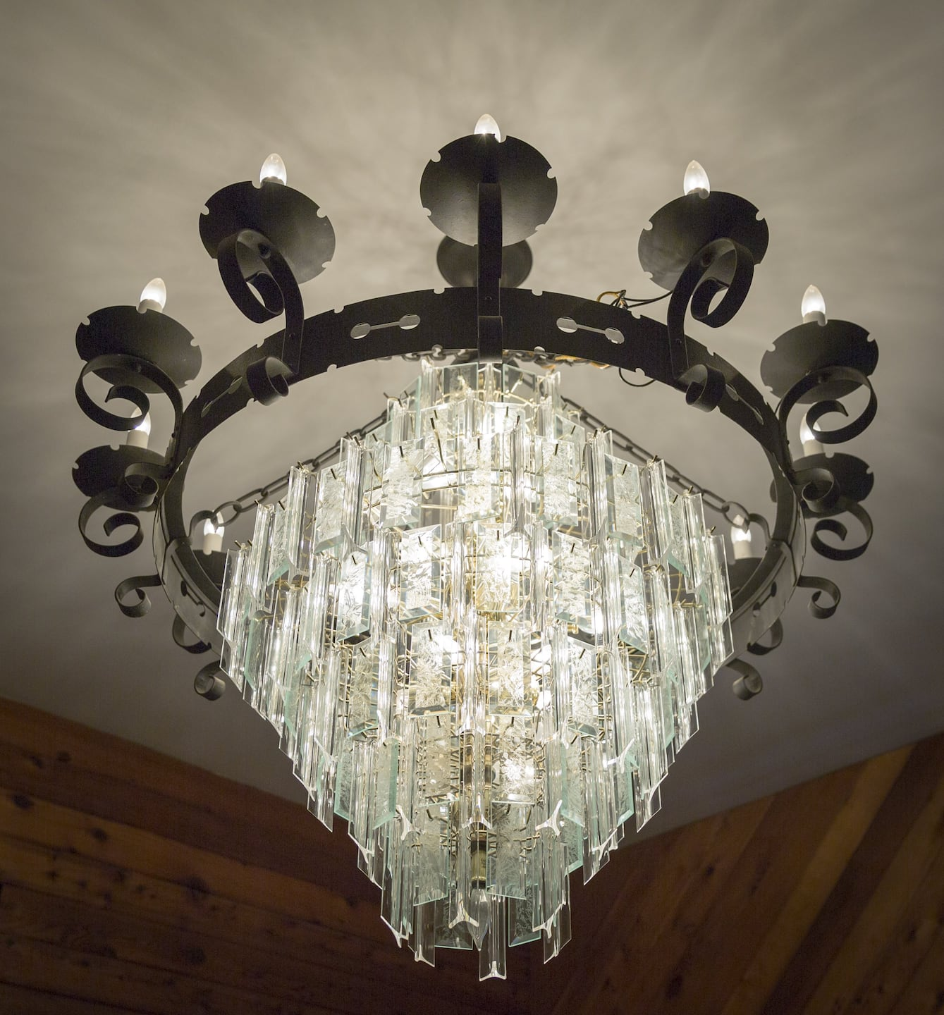 A metal and glass chandelier