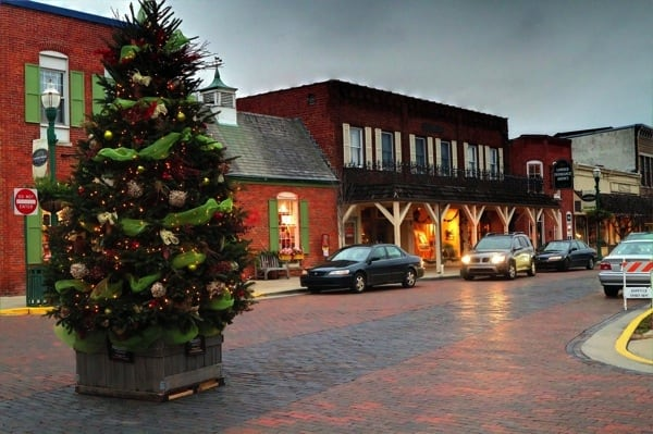 Zionsville's brick-lined downtown streets provide a perfect setting for the town's annual Christmas in the Village celebration. (Photo courtesy of Joe Konz)