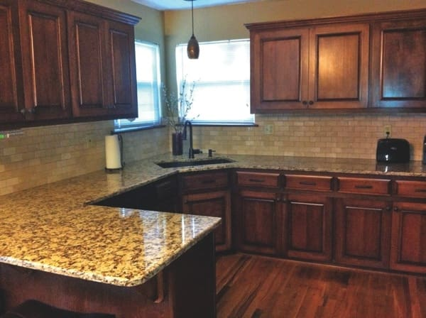The project included new countertops, refinished cabinets and a new backsplash. (Photo courtesy of Allison Lackey)