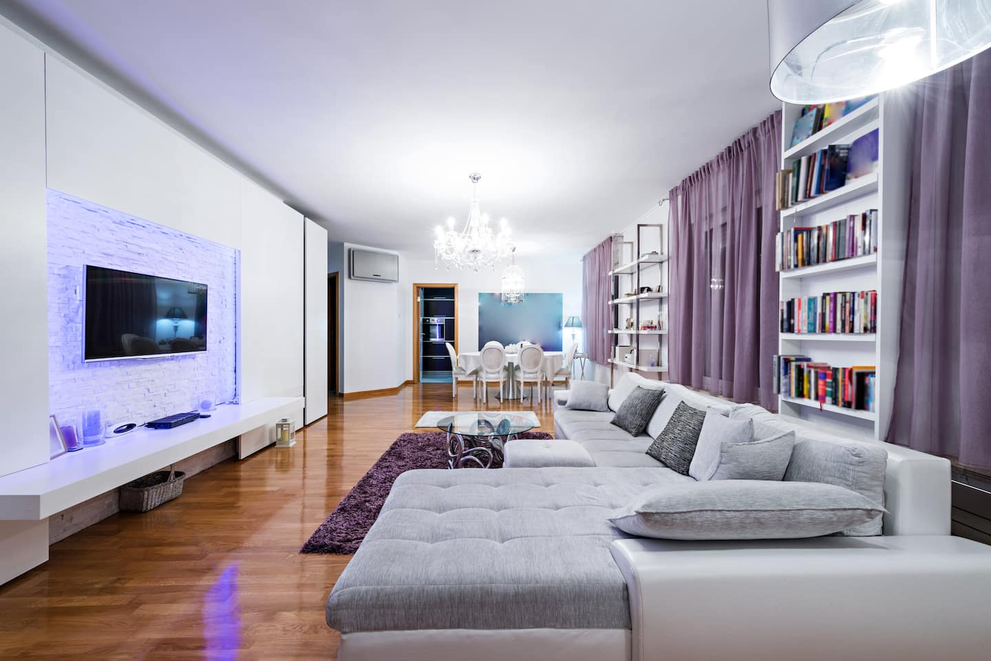 living area lighting. Modern Apartment Interior Of A Living Room In White And Purple Tones Area Lighting L