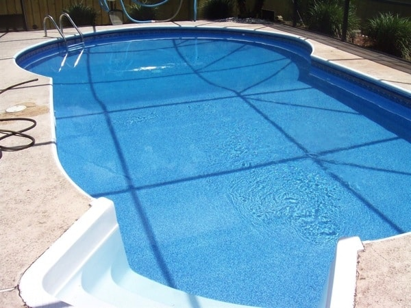 A new liner fits this uniquely shaped swimming pool like a glove. (Photo courtesy of Angie's List member Lynn Sharpe of Winter Springs, Fla.)