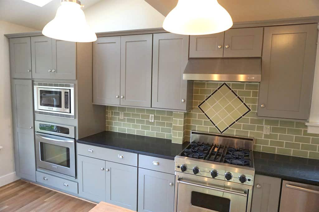gray painted kitchen cabinets