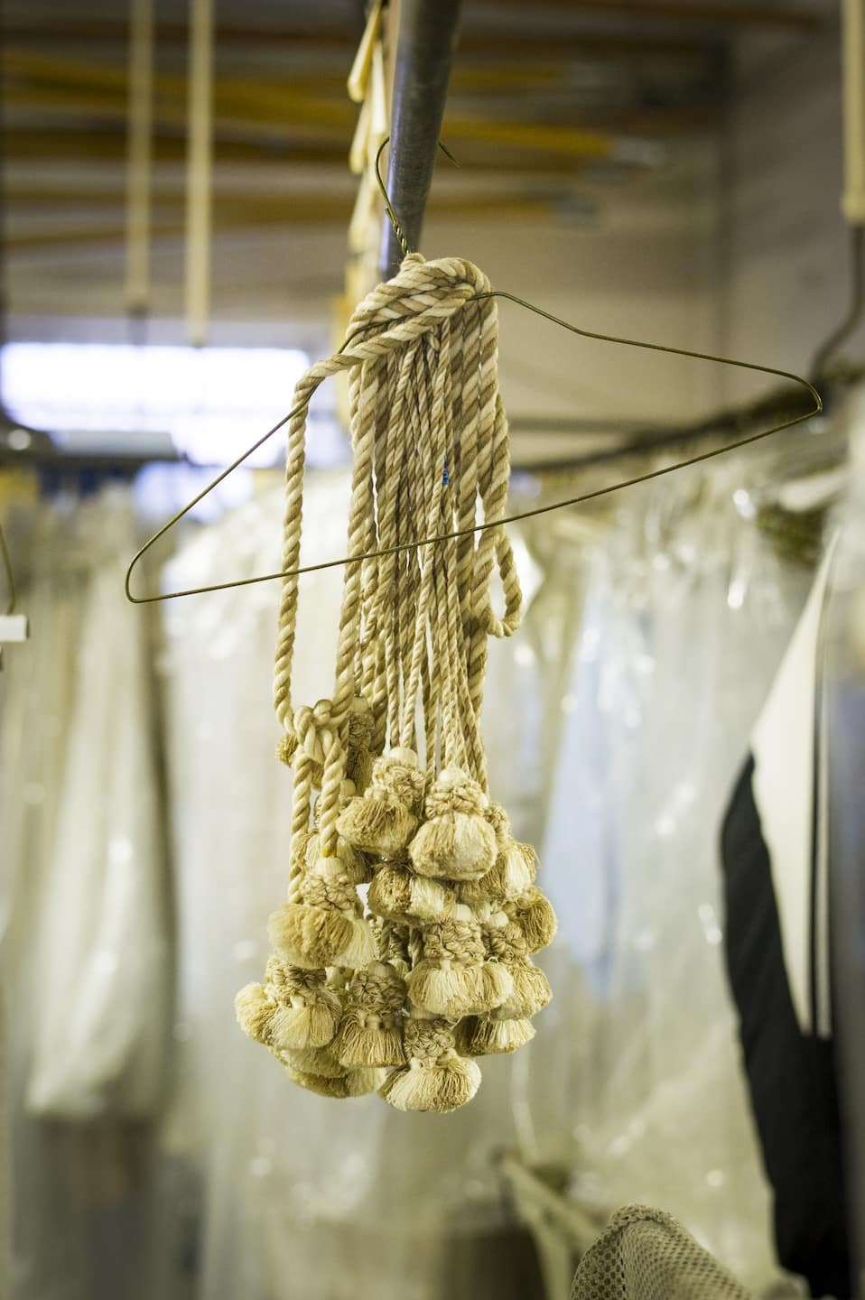 Tassels hanging from a hanger