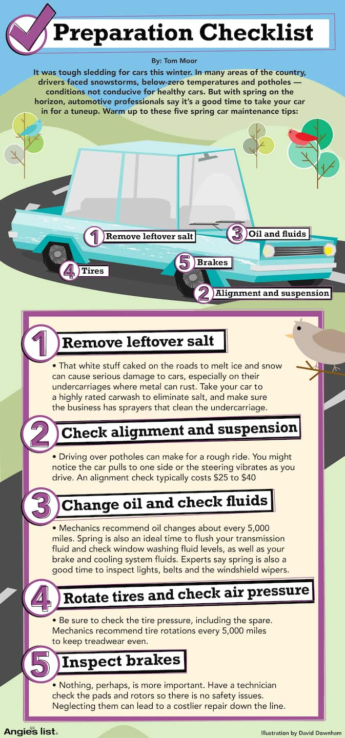 infographic spring maintenance tips for cars and trucks angie 39 s list. Black Bedroom Furniture Sets. Home Design Ideas