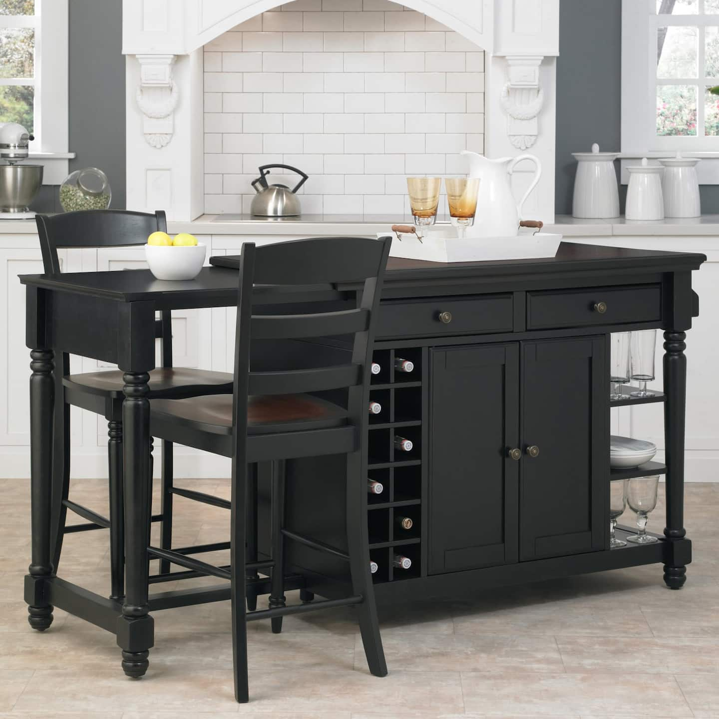 Black, Full Service Moveable Kitchen Island Bar